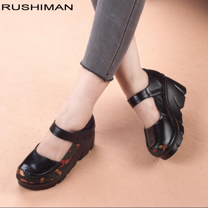 Autumn Flat Lady Shoes thick platform Women Handmade Genuine Leather Flats shoes comfortable non slip mother