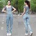 Envío Gratis 2017 Nueva Moda Casual Largo Pantalones Del Mameluco Para las mujeres de Verano de Alta Calidad Más El Tamaño XL Denim Jeans Rectos mono