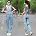 Free Shipping 2017 New Fashion Casual Long Romper Pants For Women Summer High Quality Plus Size XL Denim Jeans Straight Jumpsuit