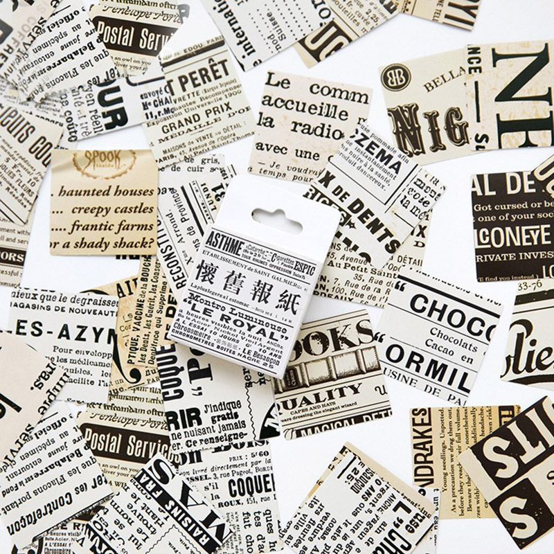 45 pcs/lot Vintage Retro Old Newspaper Stickers For Scrapbooking Sticky Paper For Home Decoration Kids Gift 2368