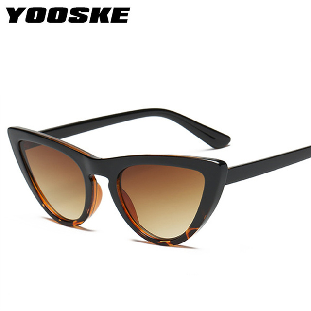 YOOSKE New Women Cat Eye Sunglasses Fashion Mirror Cat Eye Sun Glasses for Ladies UV400