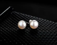 Hot Sale 3 Color 6mm 7mm 8mm 9mm 100% 925 Silver Natural Pearl Earrings Classic Fashion Pearl Earrings Jewelry For Women