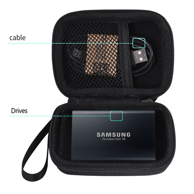 Newest Carry Storage Travel Bag Case for Samsung T3 T5 T1 Portable 250GB 500GB 1TB 2TB SSD USB 3.1 External Solid State Drives