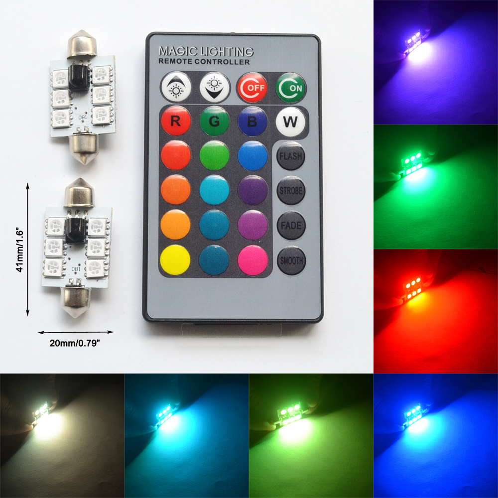 2pcs RGB 5050 6SMD 41mm Festoon Light c5w Dome Light Car Led Automobile Auto Remote Controlled Colorful Lamp Roof trunk Bulbs guangdian car led light auto interior light kit roof vanity light glove foot trunk cargo lamp t10 festoon for kia ceed 2006 2015
