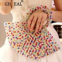 Pearls Bag Beading Basket Totes Bag Women Party Plastic Handbag 2019 Summer Beach Bag Luxury Brand Wholesale Dropshipping