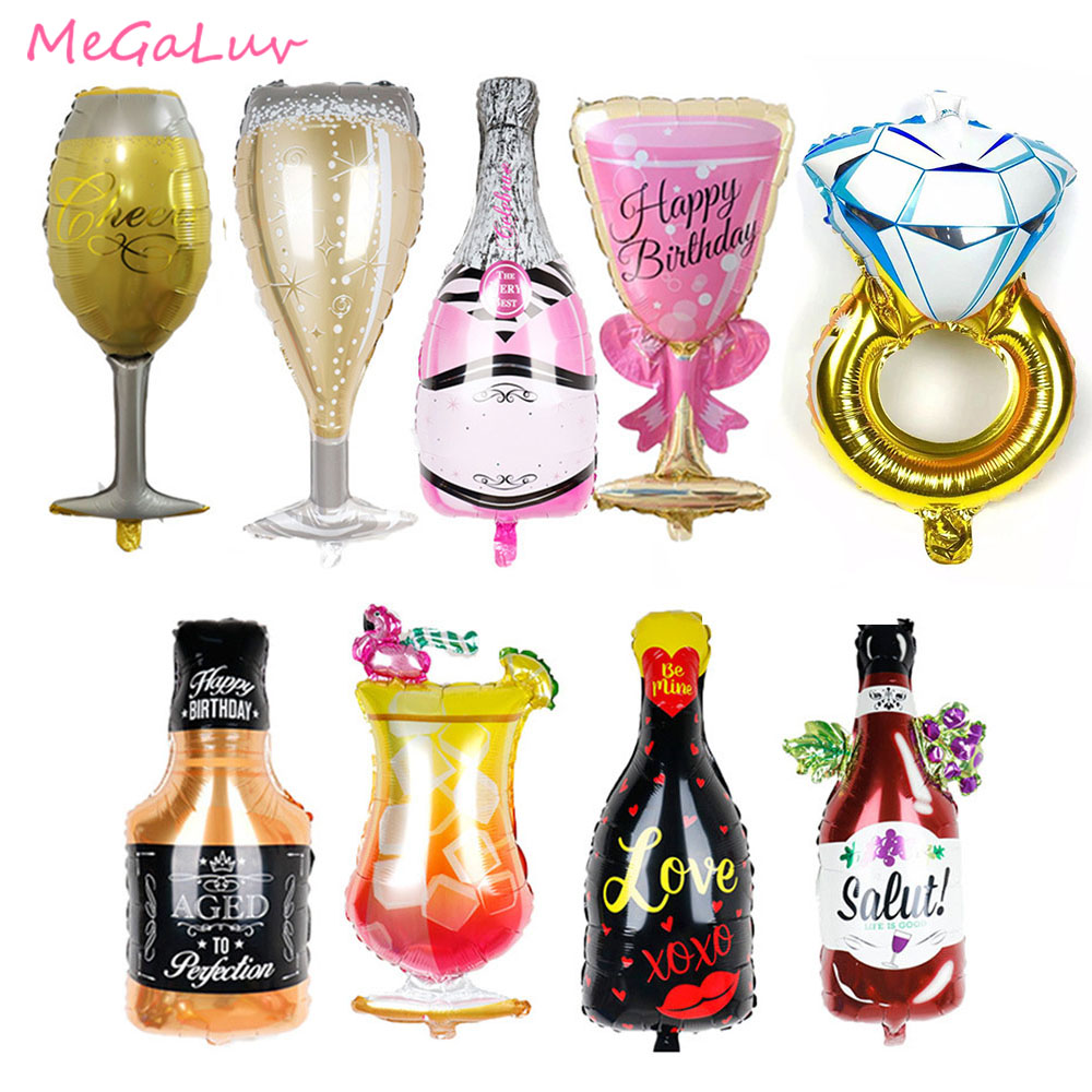 1pc <font><b>Birthday</b></font> Party Foil Balloons <font><b>18th</b></font> 21th 30th <font><b>Birthday</b></font> Decors Champagne Glasses Whiskey Bottle Foil Balloon Wedding Decoration image