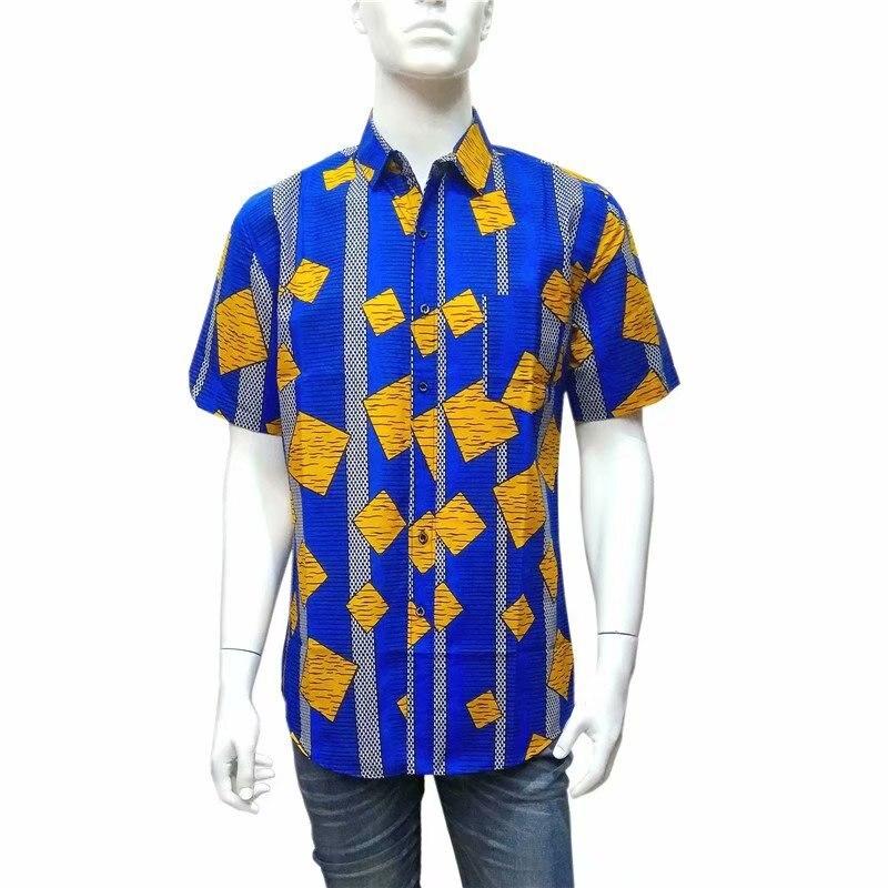 Real printed shirt African Men 39 s shirt Short shirts Prints Cotton WAX Shirt Men Clothing Plus size L 3XL 1802 in Fabric from Home amp Garden