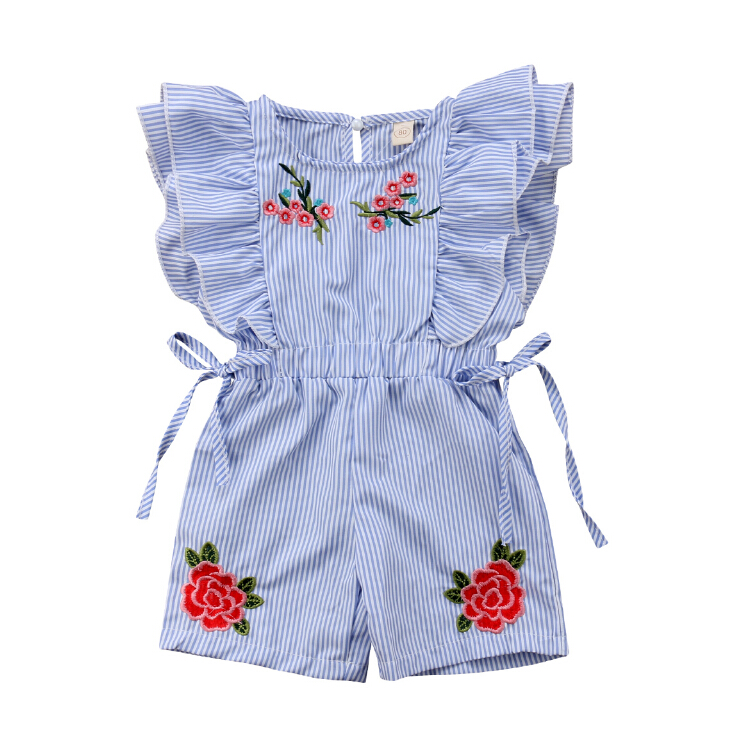 Blue Toddler Kids Baby Girl Stripe Embroidered Flower Ruffles Short   Rompers   Jumpsuit Outfits Clothes Summer