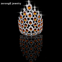 zerongE jewelry 9.0'' big tall pageant orange crystal crown silver Regal Sparkly Rhinestones hair Tiaras And Crown for women