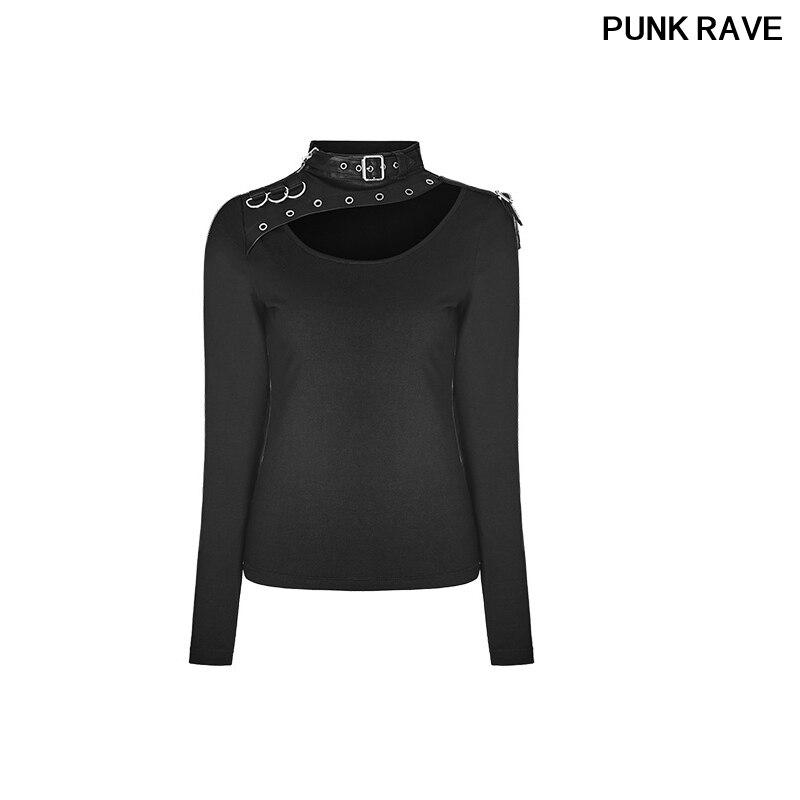 Mode élastique Slim-ajustement épaule avec fermeture à glissière en métal à manches longues T shirt gothique noir femmes T-shirt PUNK RAVE WT-518TCF