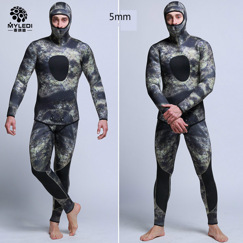 5MM Camouflage Fission Hooded Submersible Two Pieces Of Scuba Diving Suit Waterproof Keep Warm Diving Suit Male Size S-XXL