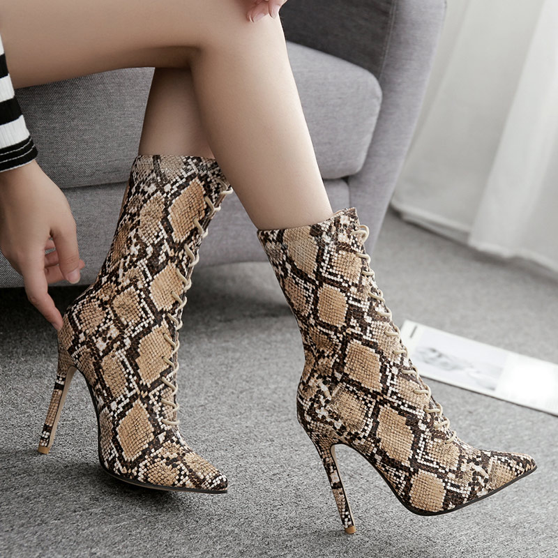 New Women Snake Print Pointed Toe Autumn Ankle Boots Female Lace Up Sexy Thin High Heels Ladies Fashion Plus Size Shoes sdtrft sexy cosplay party shoe woman 12cm thin high heeled pointed toe ankle boots lace up ladies wedding pumps plus 40 46 47 48