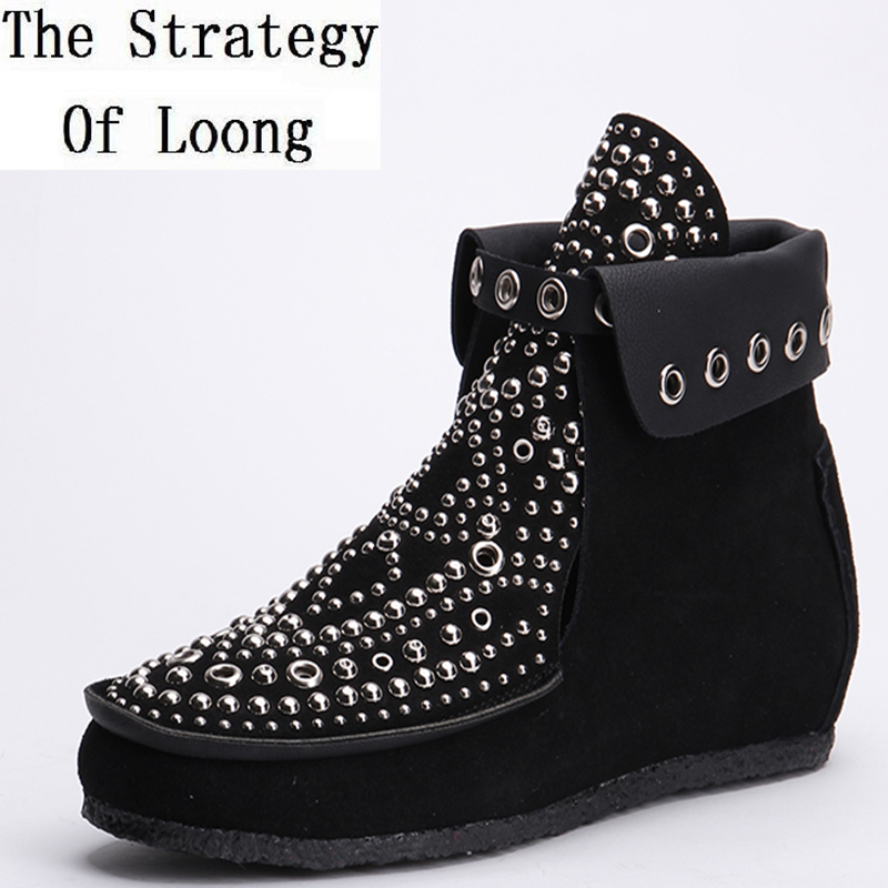 2017 New Women Spring Autumn Flats Cut Out Crystal Genuine Leather Round Toe Fashion Ankle Boots Plus Size 34-41 SXQ0808