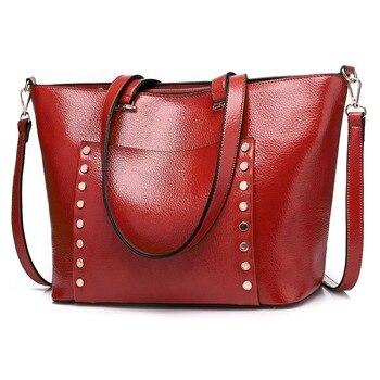 High Quality Women Messenger Bags Rivet Leather Casual Tassel Handbags Female Vintage Big Tote Ladies Shoulder Bag sac a main
