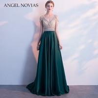 Angel Novias Long Green Evening Dress 2018 with Straps Crystal Beading Backless Party Elegant Vestido De Festa