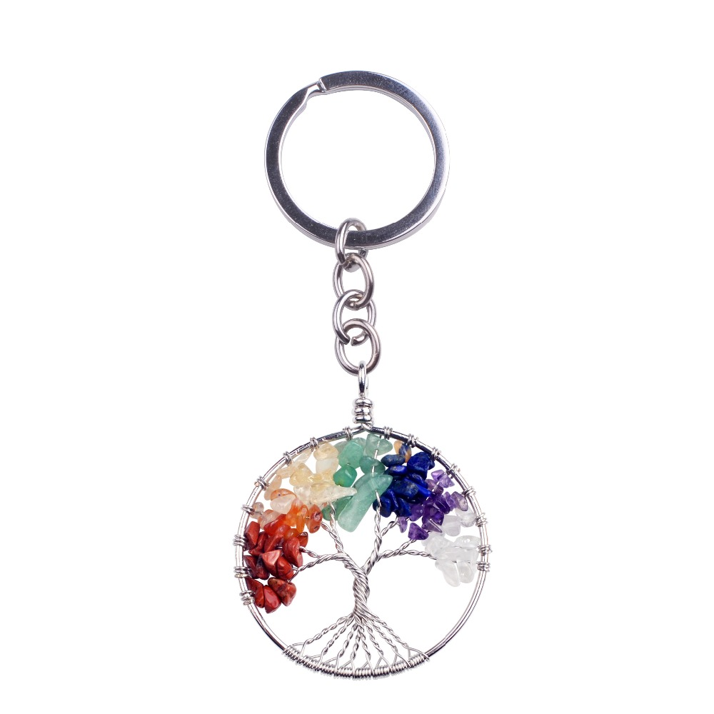 Key chains Natural stone 7 chakra llaveros yoga semi-precious stones round life of tree keychain chaveiro bag gift key chain lol цена и фото