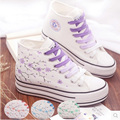 Hand Painted Canvas Shoes Women High Top China Art Flower Casual Shoes Height Increasing Ladies Single Shoes Outdoor
