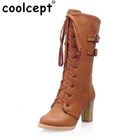 Size 33 43 Women High Heel Knee High Boots Autumn Winter Boot Shoes Woman Lace Up