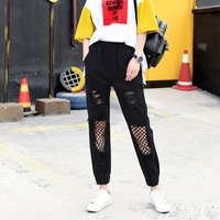 Loose Fish Net Jean Pants Womens Ripped boyfriend jeans loose Harem Jeans Woman Summer Street Wear Black denim Pants With Hole