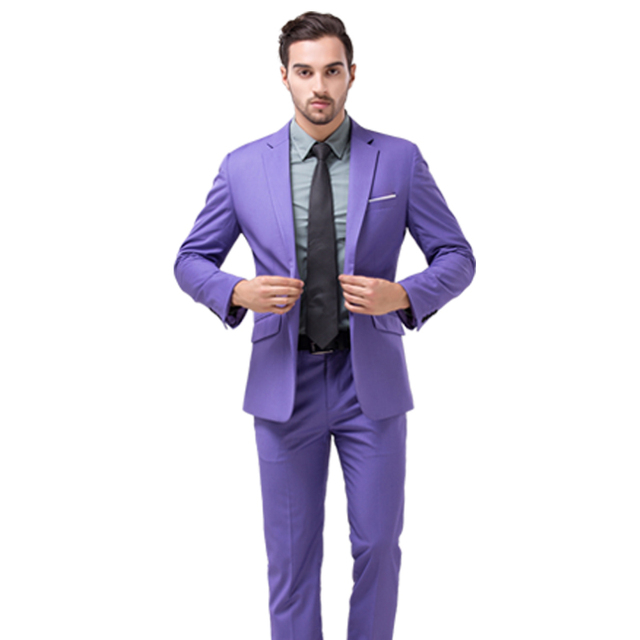 Boa Qualidade Novo Macho Magro festa de Casamento Fatos & Blazer Paletó + Calça + Colete roxo Homens de Negócios Casuais Ternos formais Tamanho 3XL