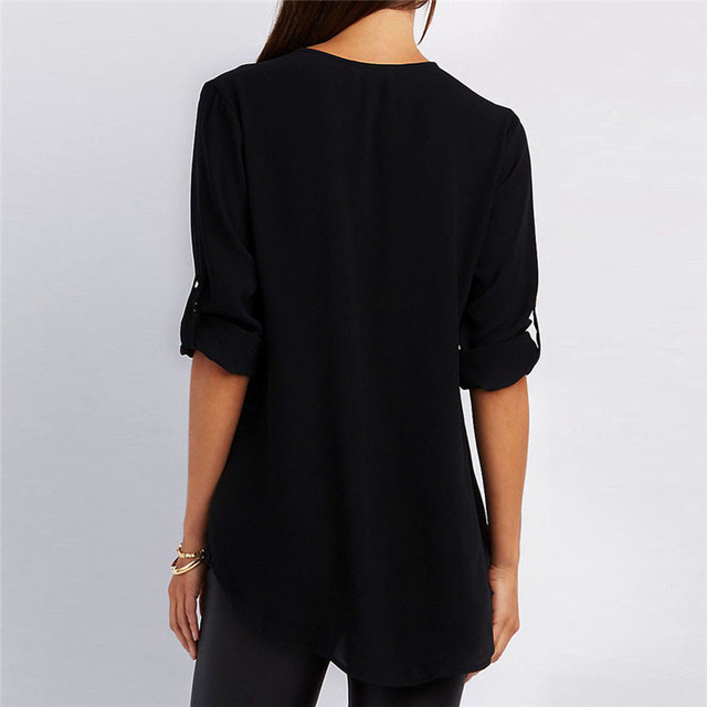 Women Chiffon Blouse 2018 Summer Elegant Solid V-Neck Zipper Blouse Shirt Loose Casual Tops Blusas Camisas Mujer Plus Size S-5XL