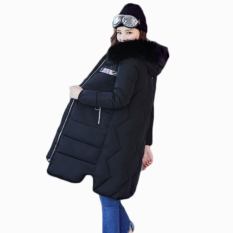 2018 NEW HOT WOMEN WINTER JACKER PLUS SIZE MID-LENGTH LARGE FUR COLLAR HOODED THICK WARM FEMALE PARKAS COTTON WADDED COAT ZL571