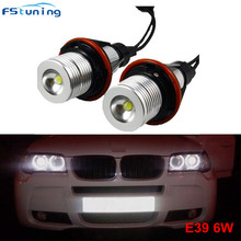 FSTUNING 12V 6W E39 LED Angel Eyes Marker headLights Bulbs For BMW E39 X5 E53 E60 E61 E63 E64 E65 E66 E87 BMW angel eyes bulb high power error free 2 pcs angel eyes led e39 90w marker with canbus for bmw e39 lamp