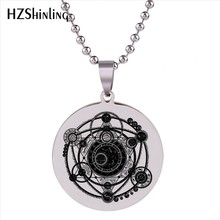 2018 New Stainless Steel Necklace Jewelry Sigil Magic Witchcraft Pendant Necklaces Women Dress Accessories Silver Ball Chain HZ7(China)