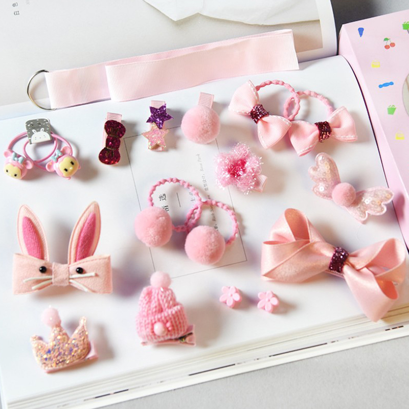 18pcs Head Wear Set Child Elastic Bow Knot Hair Clips Crown Rabbit Flower Barrettes Hairpins Kids Girls Xmas Gift Jewelry #2