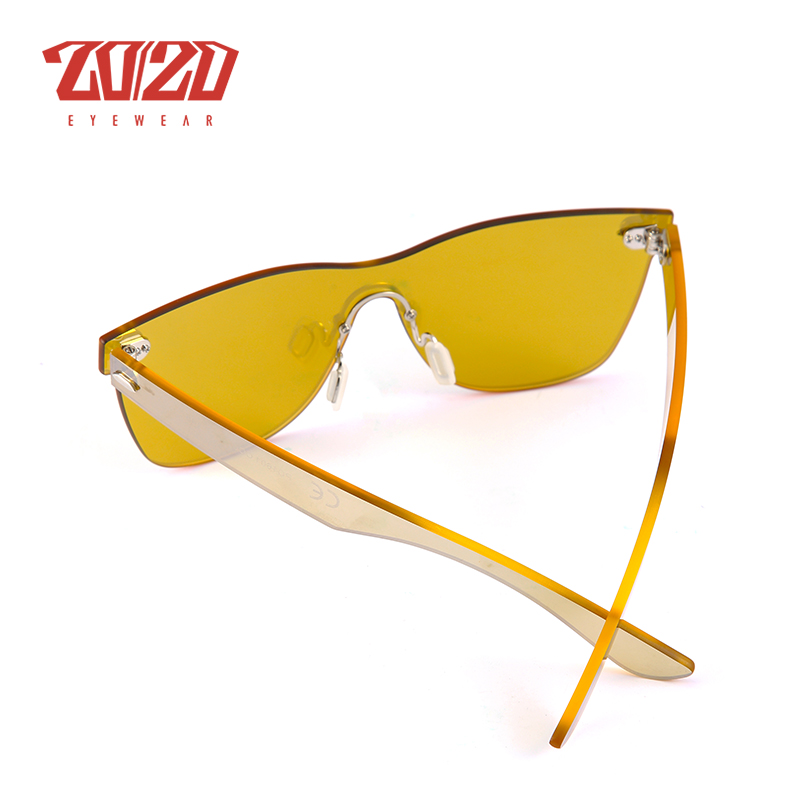 20/20 marke Vintage stil Sonnenbrille Männer Flache Linse Randlose ...