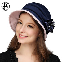 New Women Church Hats Winter Autumn Felt Hat Elegant Style Silk Flower Buckets Vintage Hat Fedoras