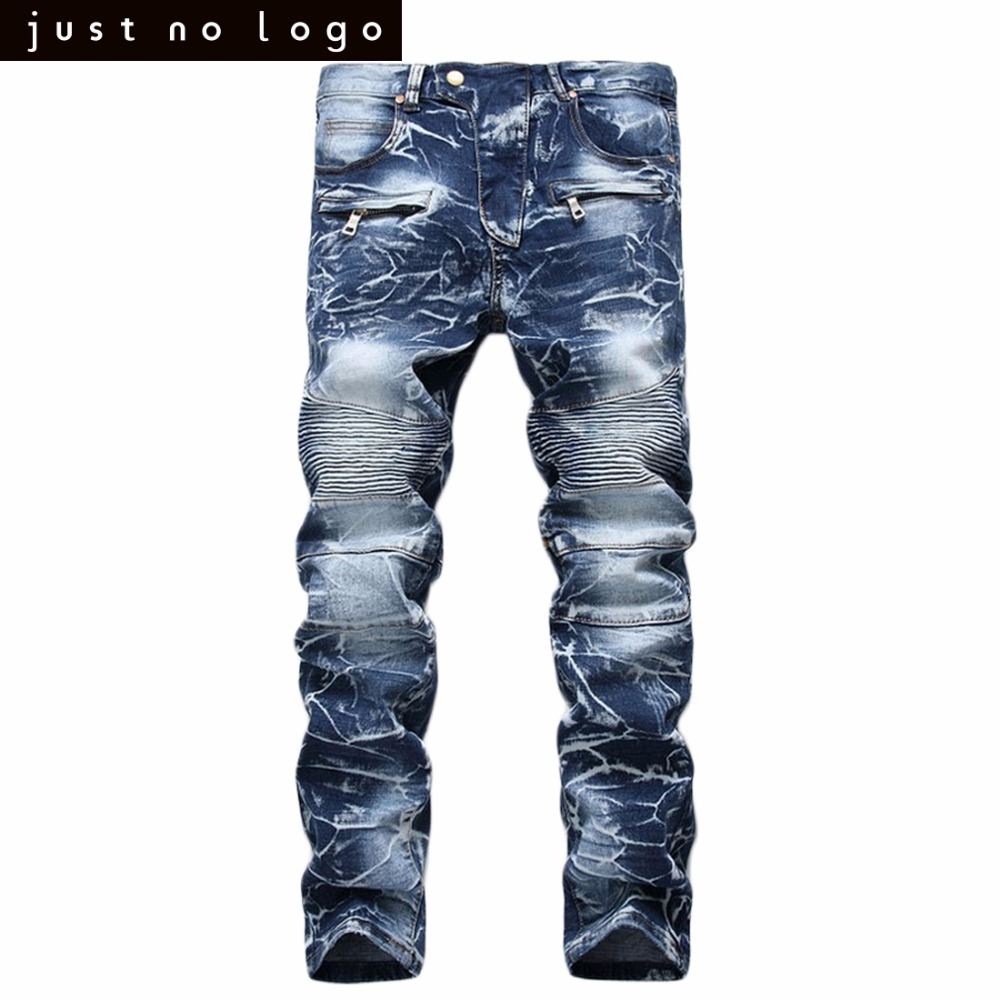 Fashion Mens Distressed Straight Pleatea Biker Jeans Whitish Snowflake Pattern Slim Fit Denim Pants Skinny Destroyed Trousers 2017 biker jeans mens high stretched zipper distressed jeans new fashion pantalones vaqueros hombre bmy1903