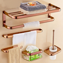 Rose Gold Color Brass Square Bathroom Accessories Towel Shelf Holder Toilet Paper Wall Mounted Bath Hardware Sets