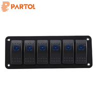 Partol 6 Car Rocker Switches Control Panel With LED Indicator Light 12v 24v Waterproof 20A 10A Automotive Interior Accessories