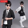 (Jackets+Vest+Pants) New Boys Suits Slim Fit Tuxedo Brand Fashion Costumes Dress Wedding black white Suits Blazer