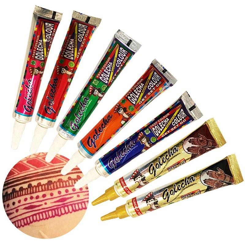 1PCS Golecha Henna Tattoo Cones Party Colored Natural Organic Waterproof Henna Cones Paste Fake Tattoo Paint Body Art Henne