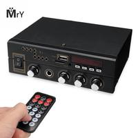Bluetooth 2.0CH Home Mini Digital Audio Power Amplifier audio with microphone /USB/TF/FM/AUX play stereo sound control volume