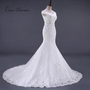 Image 2 - ואגלי תחרת בת ים שמלות כלה Vestido דה Noiva שרוולים קריסטל 2020 משפט רכבת בתוספת גודל לבן שמלות כלה WX0081