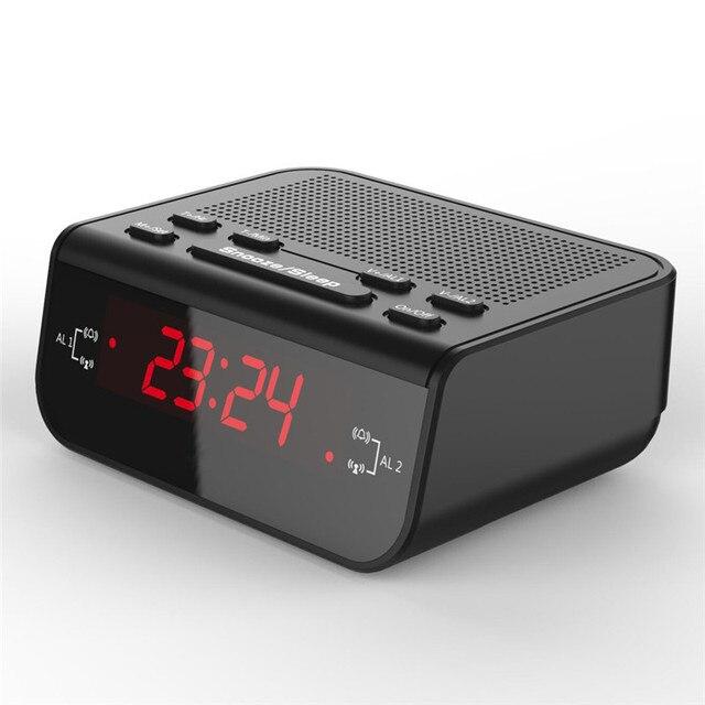 Цифровой Современный Дизайн AM Fm-радио С Двойной Будильник Таймер Сна Красный СВЕТОДИОД Отображения Времени