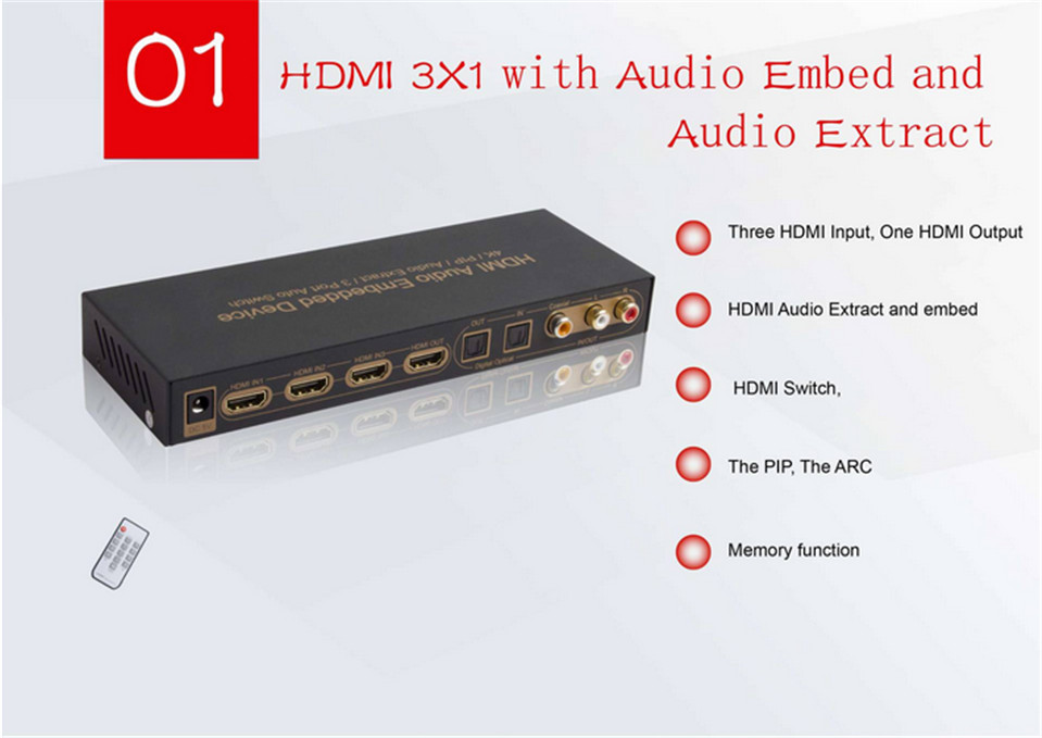 ФОТО Digital Audio Toslink Digital Coax 3*1 HDMI Audio Embedded & Extractor to HDMI +LR ARC Audio 3D+4K+1080P+5.1CH+2.0CH for pc TV