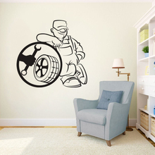 Tire Service Wall Vinyl Decal Auto Car Repair Wall Sticker Car Service Shop Decor Car Repair Man Vinyl Wall Poster Design AY1575 цена