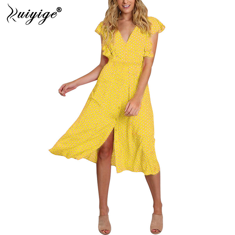 Original Ruiyige 2018 Summer Casual Midi Dress O Neck Sexy Work Holiday Party Dresses Polka Dot With Belt Women Bench Zipper Vestidos Women's Clothing