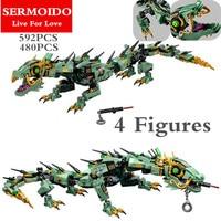 Ninja 592pcs Movie Series Flying Mecha Dragon Building Blocks Bricks Baby Toys Children Gift Model Gifts