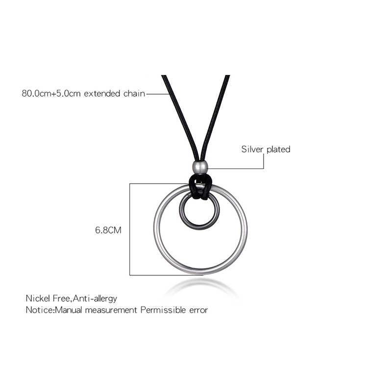 Czarna lina kobiety długi naszyjnik srebrne złote koło duży wisior naszyjnik prezent biżuteria akcesoria cena hurtowa
