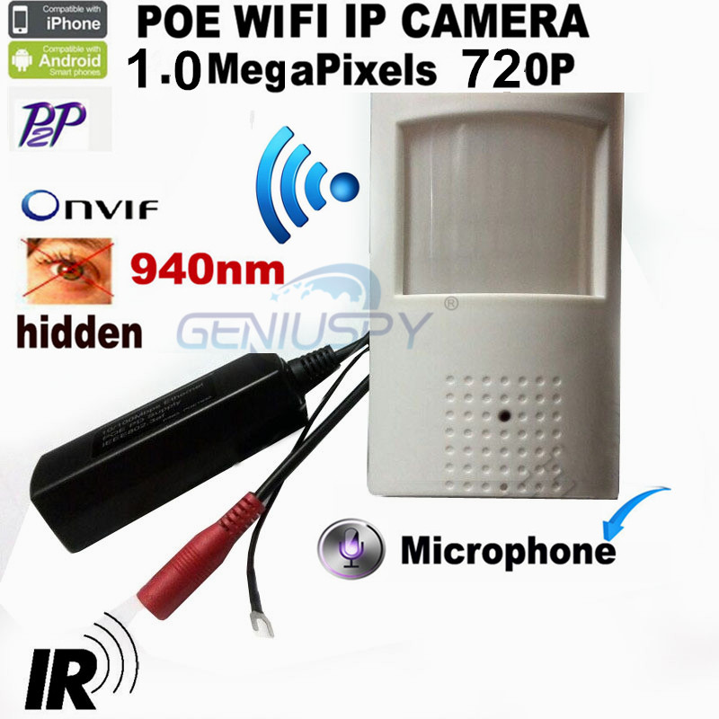 Беспроводной 720 P HD POE пир стиль детектор движения Wi-Fi камера ONVIF 940NM ИК ночного видения P2P Plug And Play мини Wi-Fi POE IP пришел