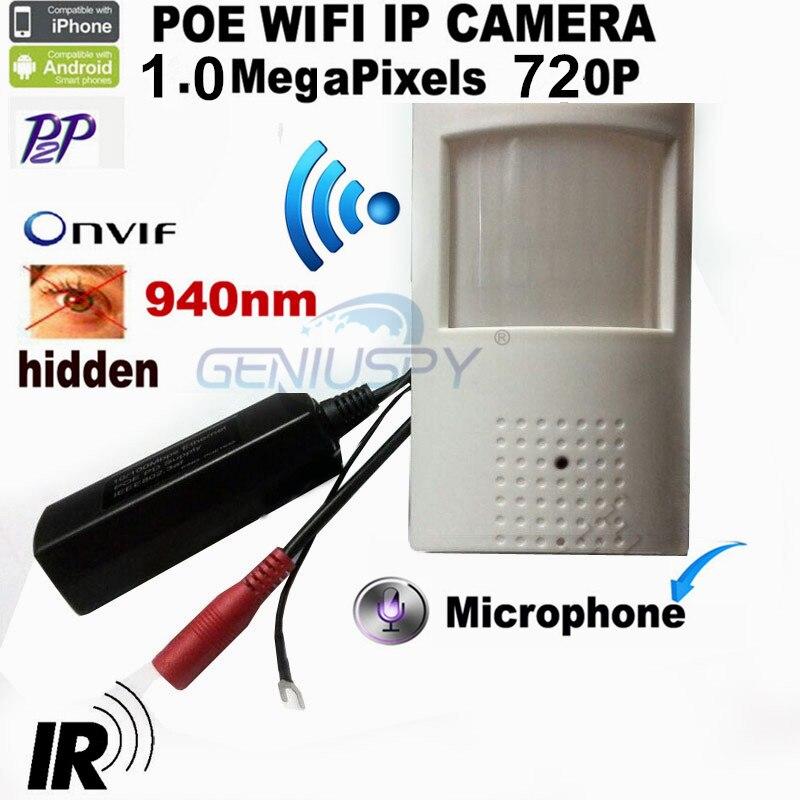 Wireless 720P HD POE PIR Style Motion Detector WIFI Camera ONVIF 940NM IR Night Vision P2P Plug And Play Mini WIFI POE IP Came