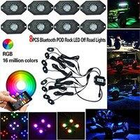 8 unids X RGB Roca LLEVÓ Kits de Luz de un solo color, strobe y sincronización de música, Bluetooth Control de Neón Multicolor de Luces de Repuesto
