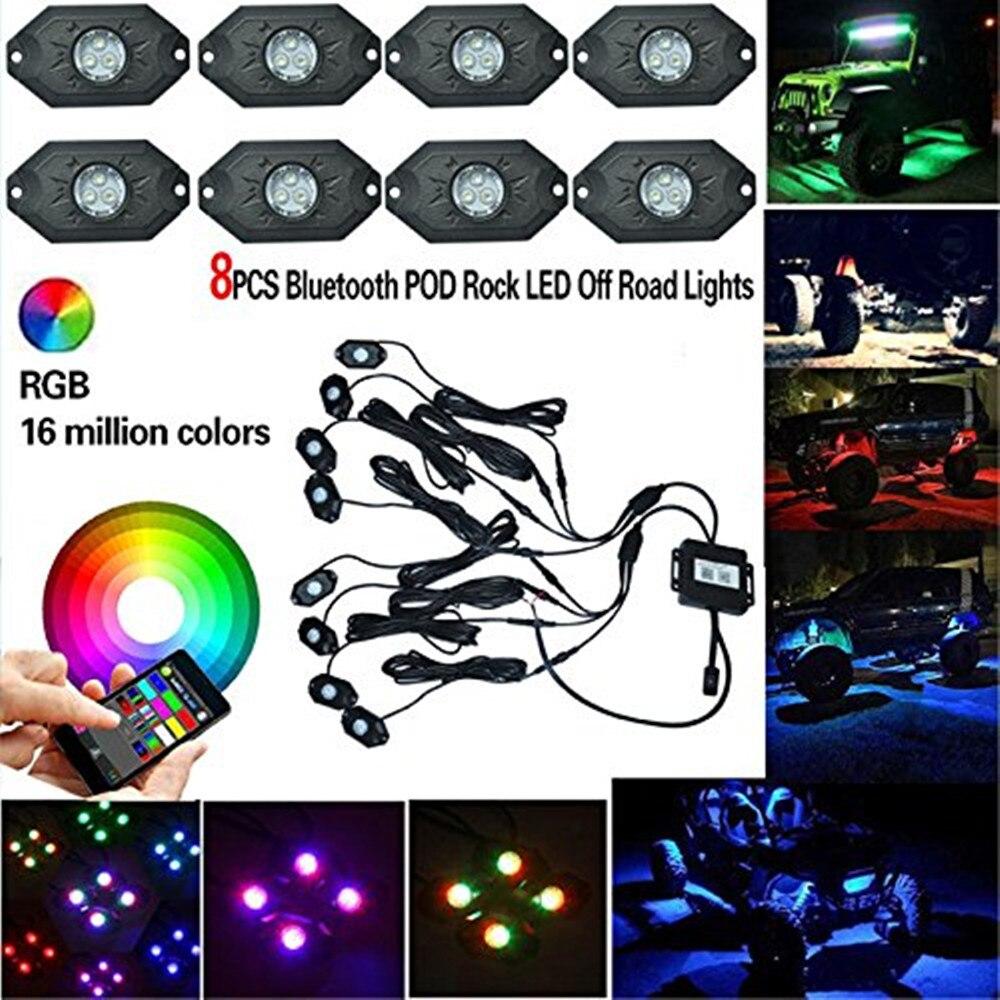 Kits de lumière de roche de LED de 8 pièces X rvb avec la couleur simple, le stroboscope et la synchronisation de musique, remplacement de néons de contrôle de Bluetooth multicolore