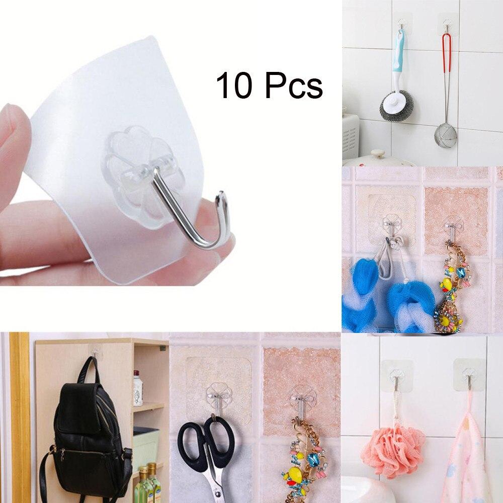 10PCs Transparent Strong Self Adhesive Door Wall Hangers Towel Mop Handbag Holder Hooks For Hanging Kitchen Bathroom Accessories алиэкспресс сумка прозрачная