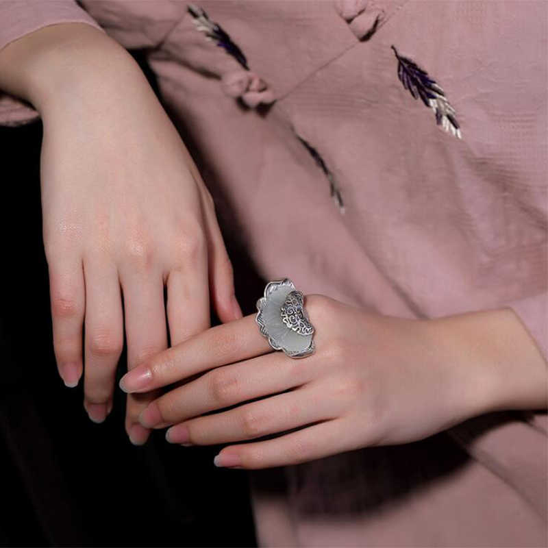 2019 Vintage หินธรรมชาติโชคดีหยกเท้าแหวน 100% เงินแท้ 925 925 เครื่องประดับสำหรับผู้หญิงแหวน R8